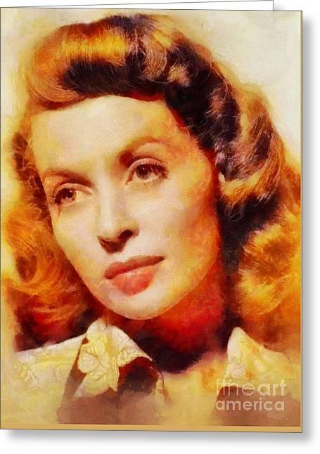 Lilli Palmer, Vintage Actress Greeting Card by Sarah Kirk