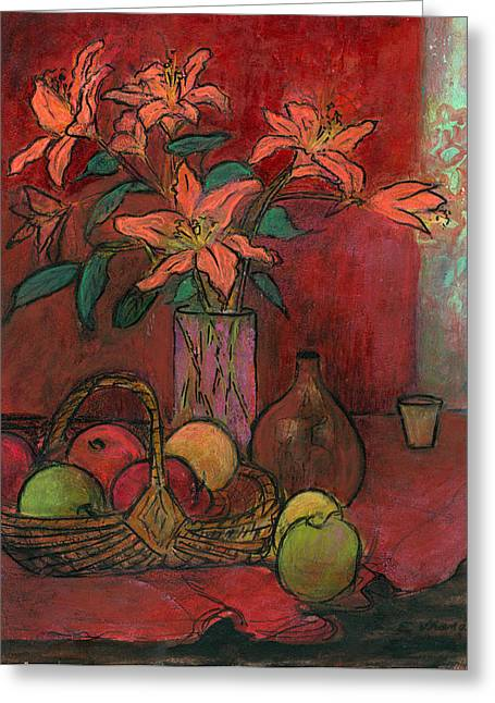 Still Life With Green Apples Greeting Cards - Lillies Greeting Card by Ethel Vrana
