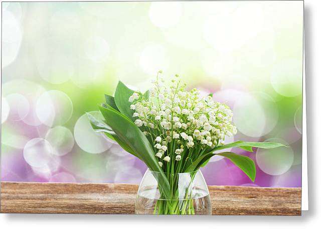 Lilly Of Valley Posy In Glass Greeting Card