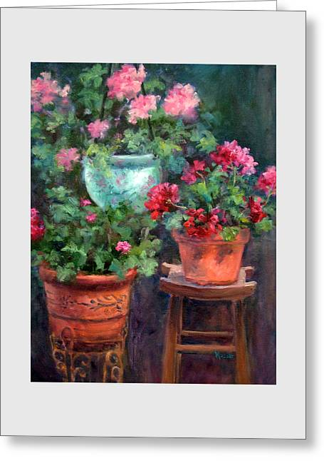 Lil's Geraniums Greeting Card by Jill Musser