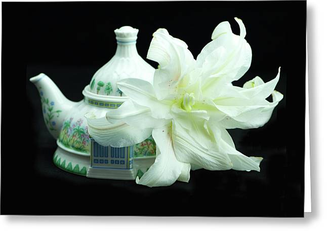 Lily And Teapot Greeting Card