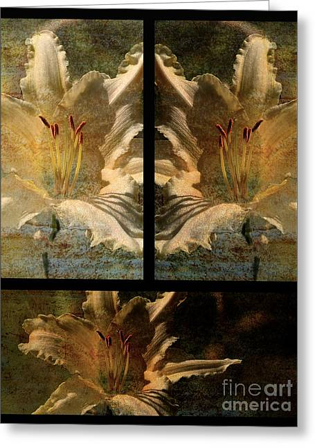 Lily Collage Greeting Card by Lois Bryan