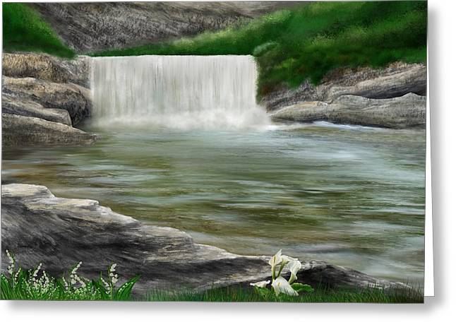 Greeting Card featuring the digital art Lily Creek by Mark Taylor