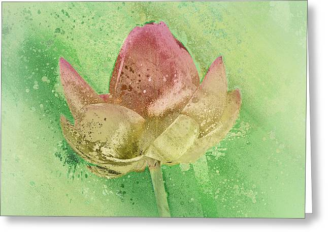 Greeting Card featuring the mixed media Lily My Lovely - S112sqc88 by Variance Collections