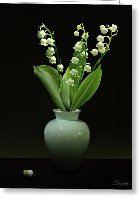 Lily Of The Valley In Vase Greeting Card