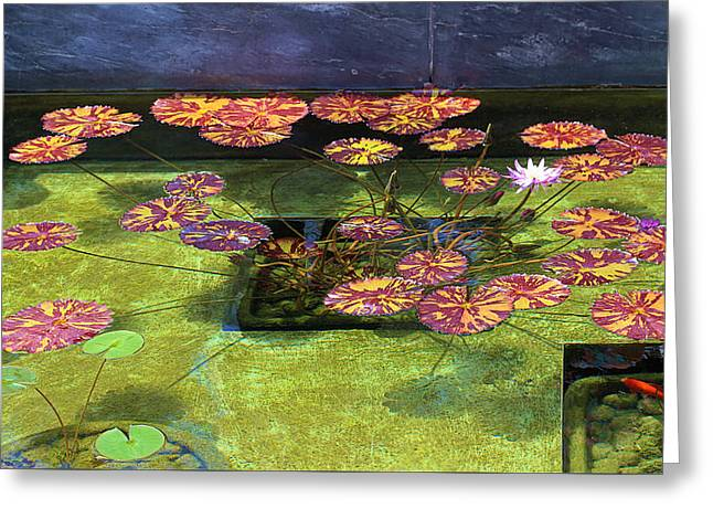 Decorative Fish Greeting Cards - Lily Pad Arrangement Greeting Card by Viktor Savchenko
