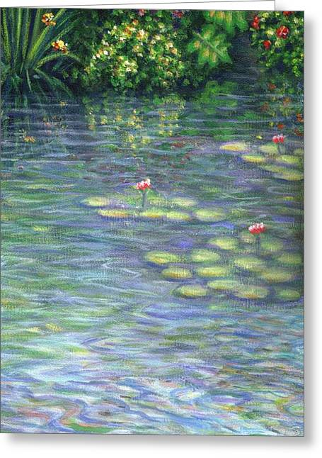 Lily Pads Triptych Part Three Greeting Card by Linda Mears