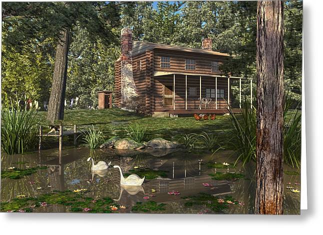Greeting Card featuring the digital art Lily Pond Cabin by Mary Almond