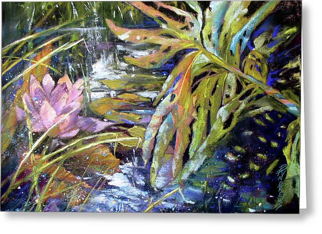 Lily Pond Light Dance Greeting Card by Rae Andrews