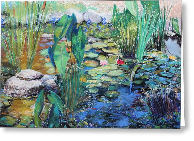 Greeting Card featuring the painting Lily Pond by M Diane Bonaparte