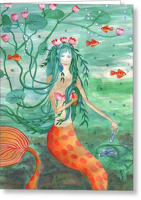 Lily Pond Mermaid With Goldfish Snack Greeting Card by Sushila Burgess