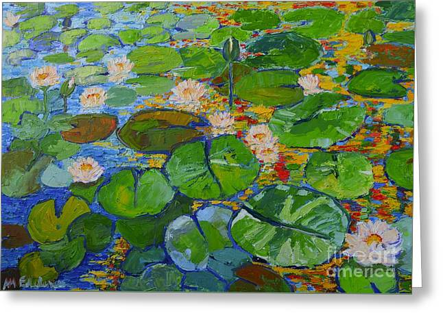 Lily Pond Reflections Greeting Card by Ana Maria Edulescu
