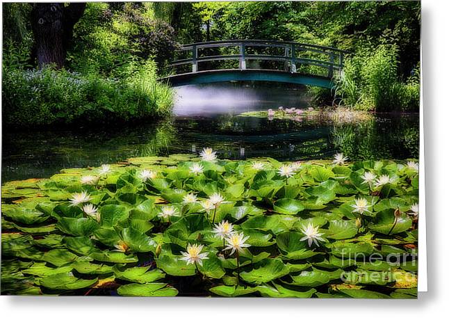 Lily Pond With A Footbridge Greeting Card by George Oze