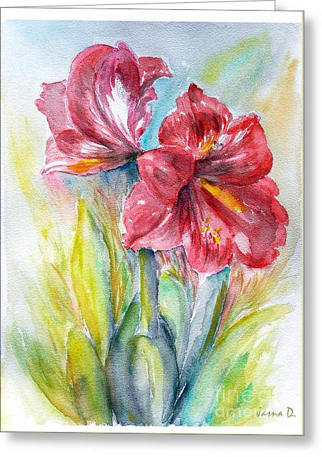 Greeting Card featuring the painting Lily Red by Jasna Dragun