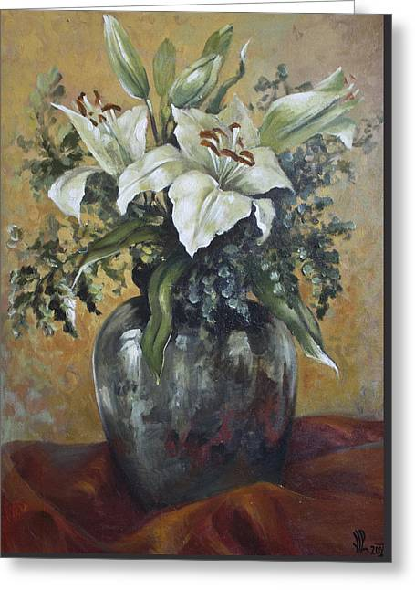 Lily-oil On Canvas Painting Greeting Card by Vali Irina Ciobanu