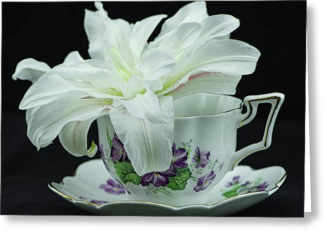 Lily With Teacup Greeting Card