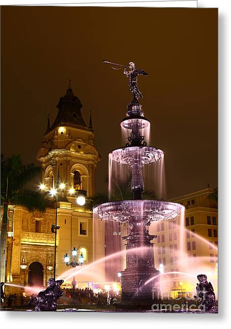 Lima Cathedral And Fountain Peru Greeting Card