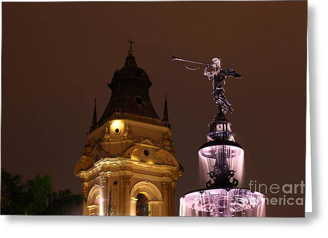 Lima Cathedral Tower And Fountain Greeting Card