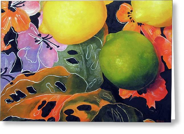 Lime And Lemons Greeting Card by Marina Petro