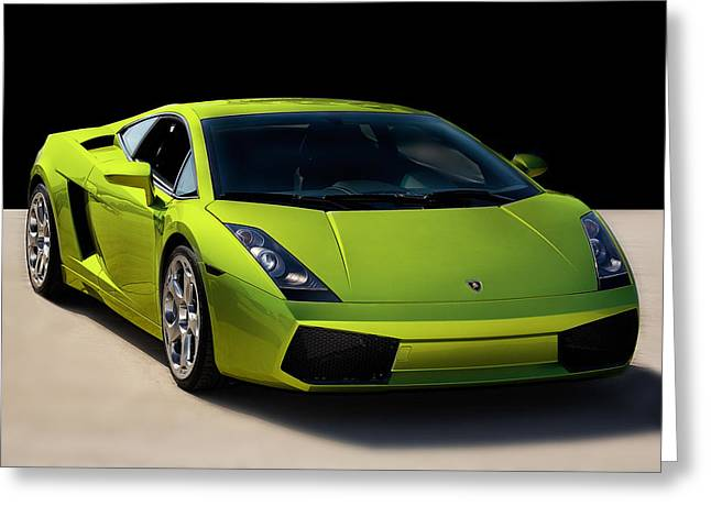 Fast Cars Greeting Cards - Lime-Borghini Greeting Card by Peter Tellone