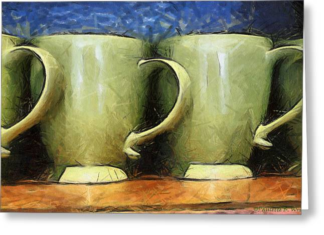 Lime Green Cups Greeting Card by Paulette B Wright