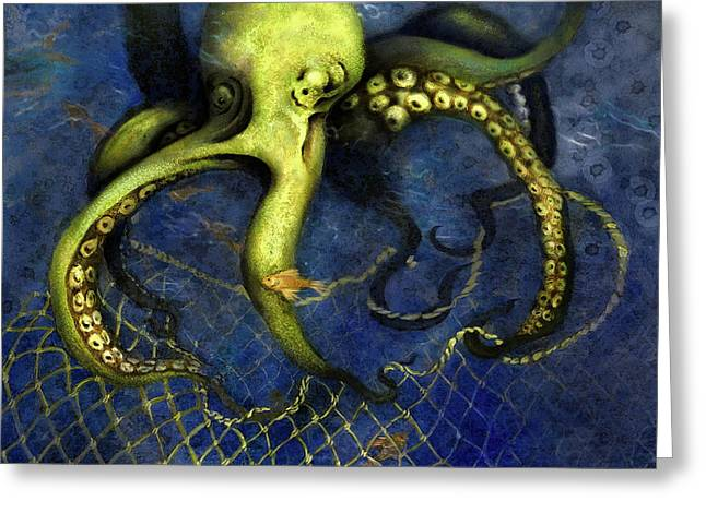 Lime Green Octopus With Net Greeting Card
