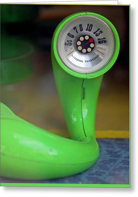 Greeting Card featuring the photograph Lime Green Twisted Radio by Matthew Bamberg
