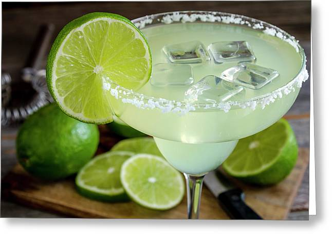 Greeting Card featuring the photograph Lime Margarita Drink by Teri Virbickis
