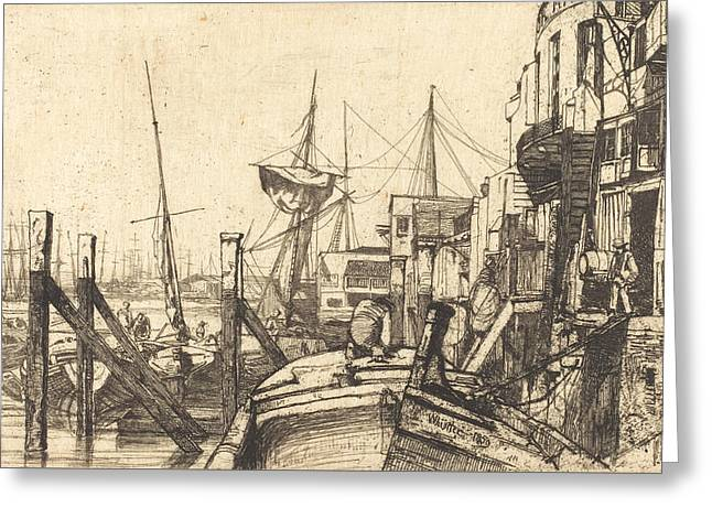 Limehouse Greeting Card by James Abbott McNeill Whistler
