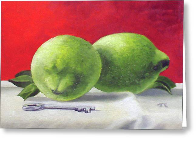 Greeting Card featuring the painting Limes by Tim Johnson