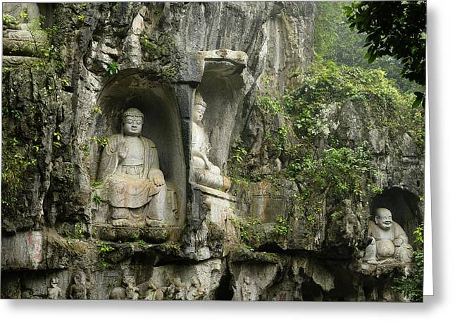 Limestone Cliff At Feilai Feng With Buddhist Sculptures At Ling  Greeting Card by Reimar Gaertner