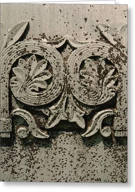 Limestone Grave Carving Greeting Card by Jon Benson