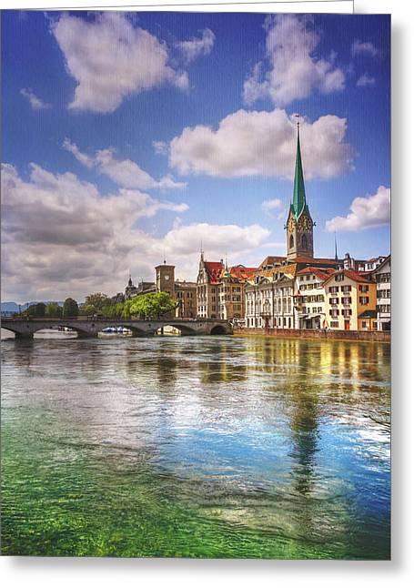 Limmat River Zurich Switzerland  Greeting Card