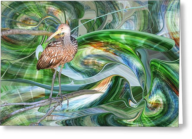 Limpkin Studying Time Flow Greeting Card
