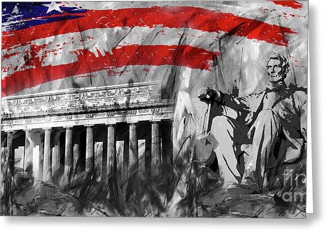 Greeting Card featuring the painting Lincoln Abe by Gull G