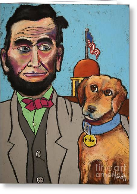 Lincoln And Fido Greeting Card