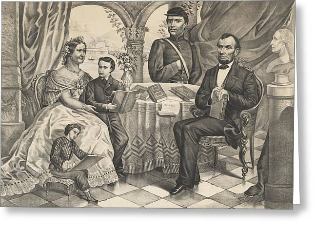 Lincoln And His Family Greeting Card by American School