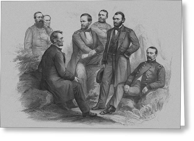 Lincoln And His Generals Greeting Card by War Is Hell Store