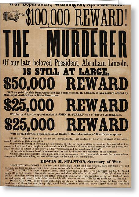 Lincoln Assassination Reward Poster Greeting Card by American School
