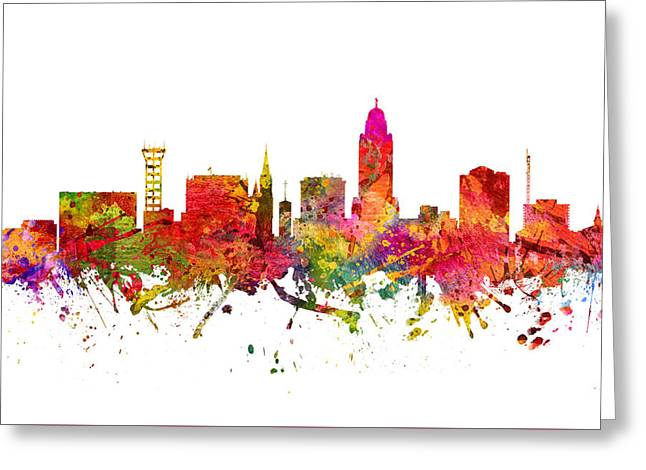 Color Lincoln Greeting Cards - Lincoln Cityscape 08 Greeting Card by Aged Pixel