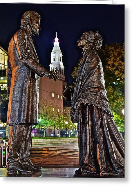 Lincoln Meets Stowe Greeting Card by Frozen in Time Fine Art Photography