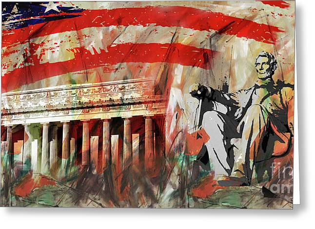 Greeting Card featuring the painting Lincoln Memorial And Lincoln Statue by Gull G