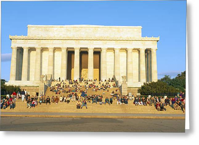 Lincoln Memorial And Tourists Greeting Card