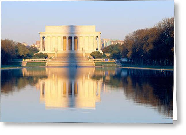 Seat Of Power Greeting Cards - Lincoln Memorial In Shadow Greeting Card by Panoramic Images