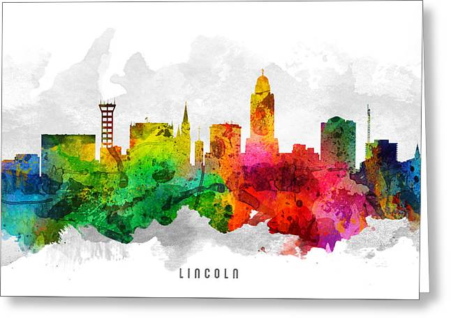 Lincoln Nebraska Cityscape 12 Greeting Card by Aged Pixel