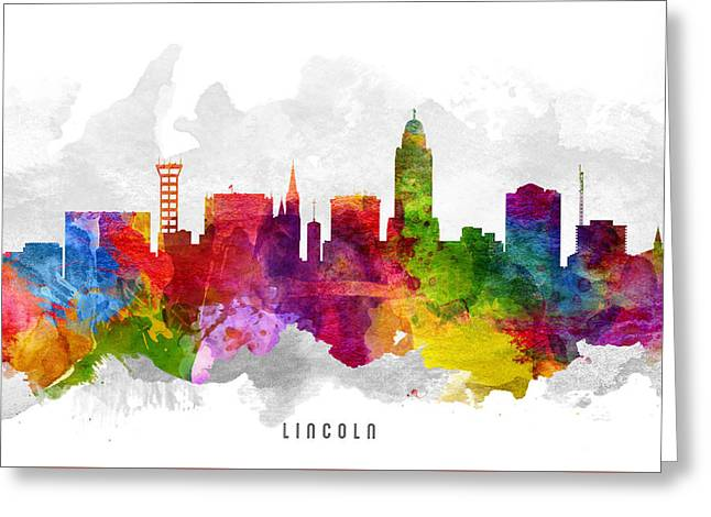 Lincoln Nebraska Cityscape 13 Greeting Card by Aged Pixel