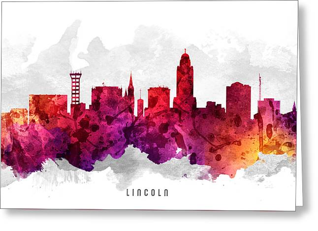 Lincoln Nebraska Cityscape 14 Greeting Card by Aged Pixel
