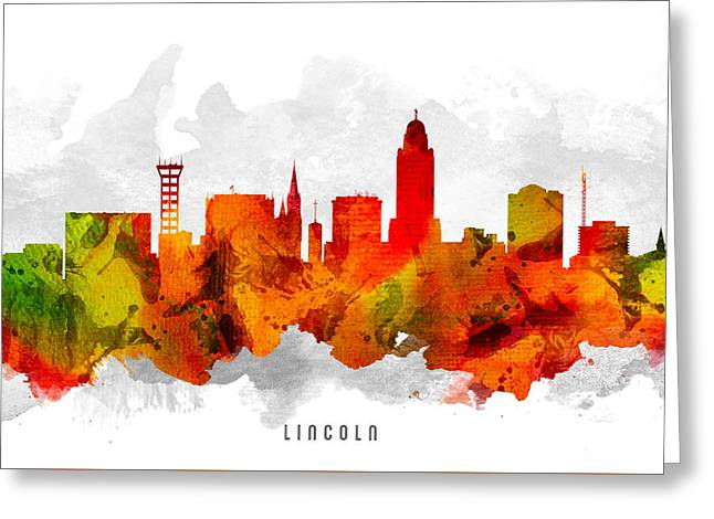 Lincoln Nebraska Cityscape 15 Greeting Card by Aged Pixel