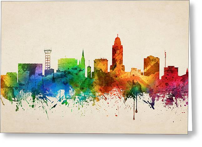 Lincoln Nebraska Skyline 05 Greeting Card by Aged Pixel