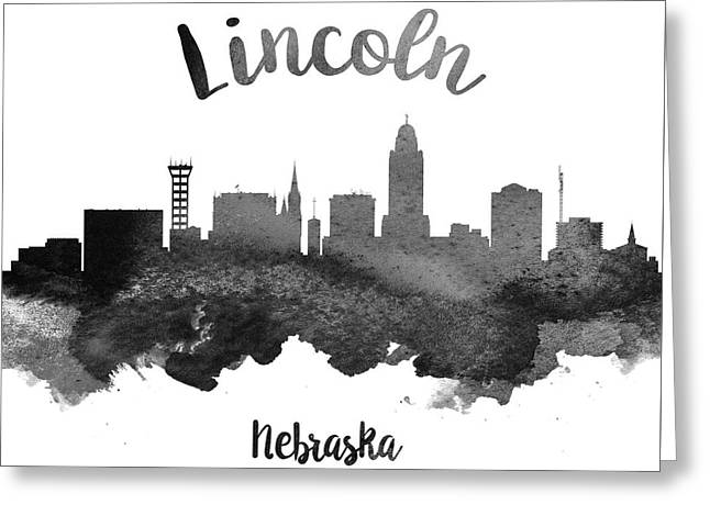 Lincoln Nebraska Skyline 18 Greeting Card by Aged Pixel